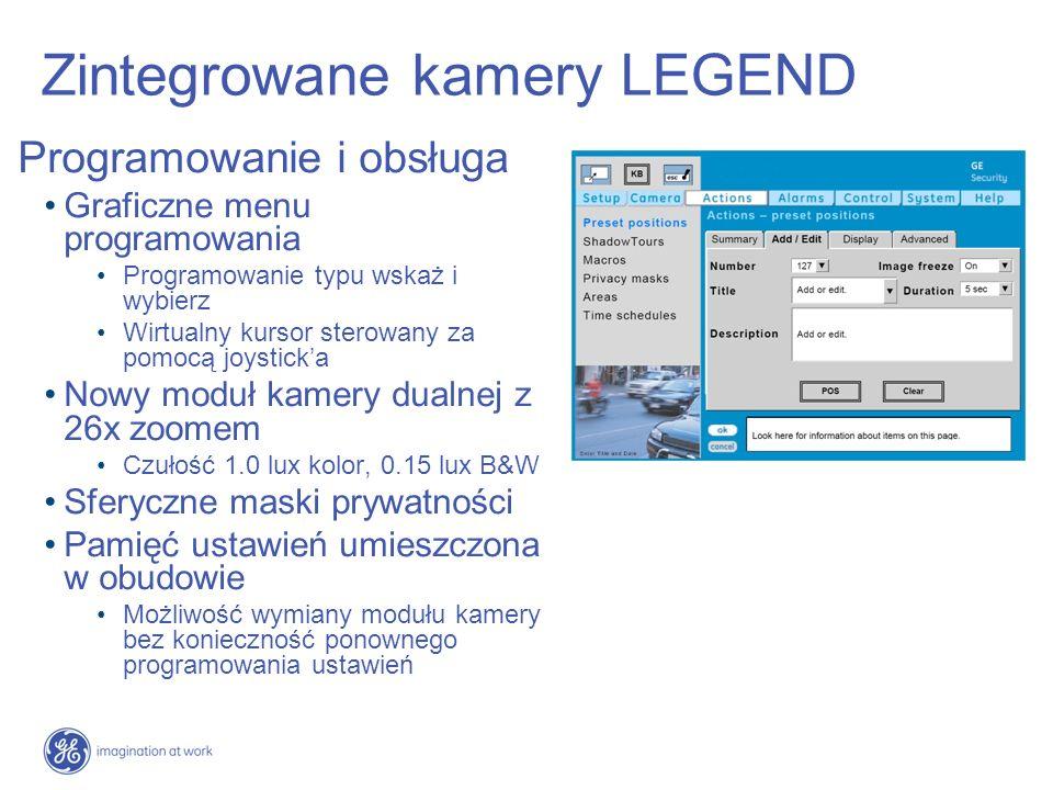 Zintegrowane kamery LEGEND Programowanie i obsługa Graficzne menu programowania Programowanie typu wskaż i wybierz Wirtualny kursor sterowany za pomoc