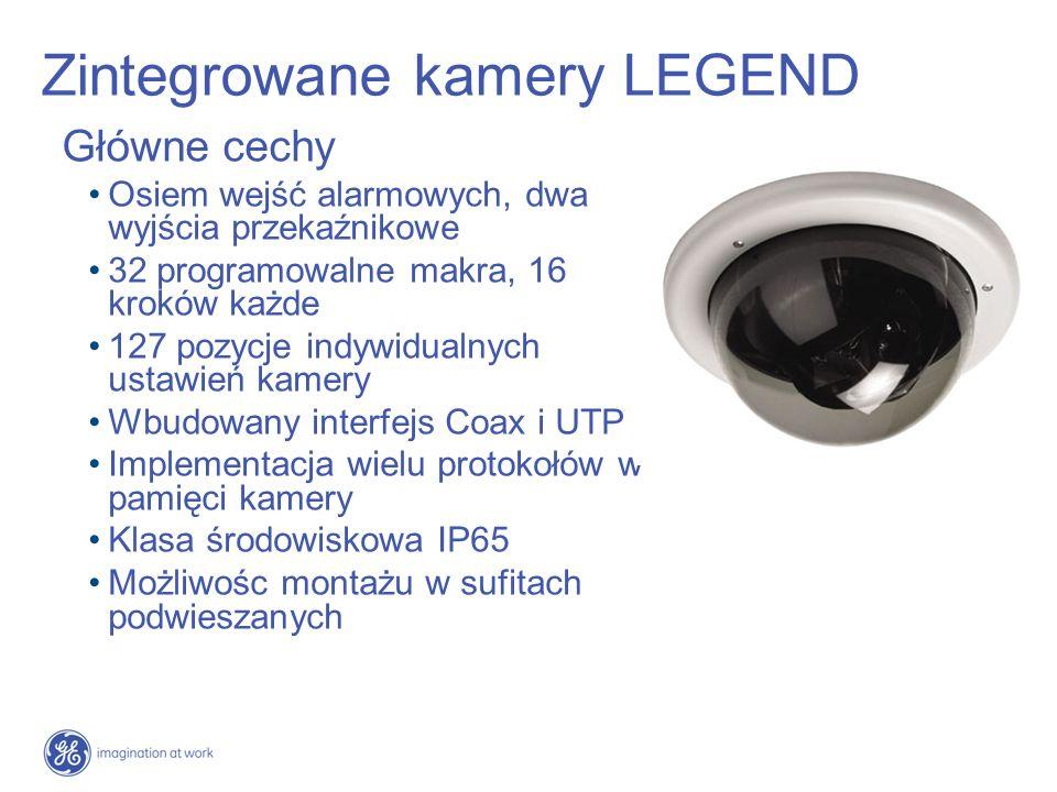 Zintegrowane kamery LEGEND Nowe standardy Napęd SilkTrak - nowy standard jakości kamer szybkoobrotowych Precyzja i niezawodność - ponad 5 krotnie większa precyzja w porównaniu z innymi konstrukcjami Parametry kamery 26x optyczny zoom Kamera dualna (dzień/noc) Czułość 1.0 Lux kolor/0.15 B&W Sferyczne maski prywatności