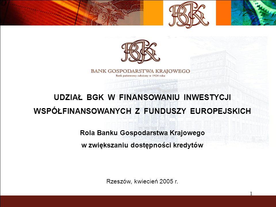 1 UDZIAŁ BGK W FINANSOWANIU INWESTYCJI WSPÓŁFINANSOWANYCH Z FUNDUSZY EUROPEJSKICH Rola Banku Gospodarstwa Krajowego w zwiększaniu dostępności kredytów