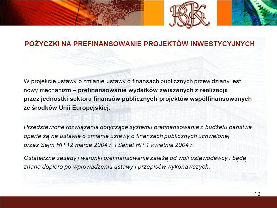 19 POŻYCZKI NA PREFINANSOWANIE PROJEKTÓW INWESTYCYJNYCH W projekcie ustawy o zmianie ustawy o finansach publicznych przewidziany jest nowy mechanizm –