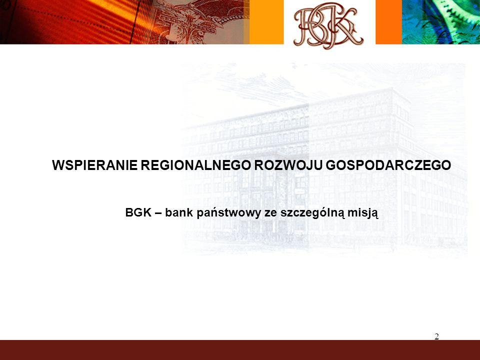 3 BGK – BANK ZE SZCZEGÓLNĄ MISJĄ BGK posiada ponad 80-letnią tradycję – został powołany do życia w 1924 r.