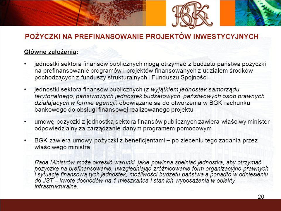 20 POŻYCZKI NA PREFINANSOWANIE PROJEKTÓW INWESTYCYJNYCH Główne założenia: jednostki sektora finansów publicznych mogą otrzymać z budżetu państwa pożyc