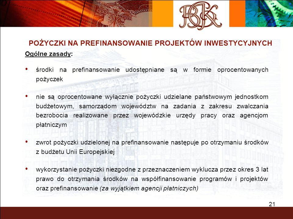 21 POŻYCZKI NA PREFINANSOWANIE PROJEKTÓW INWESTYCYJNYCH Ogólne zasady: środki na prefinansowanie udostępniane są w formie oprocentowanych pożyczek nie