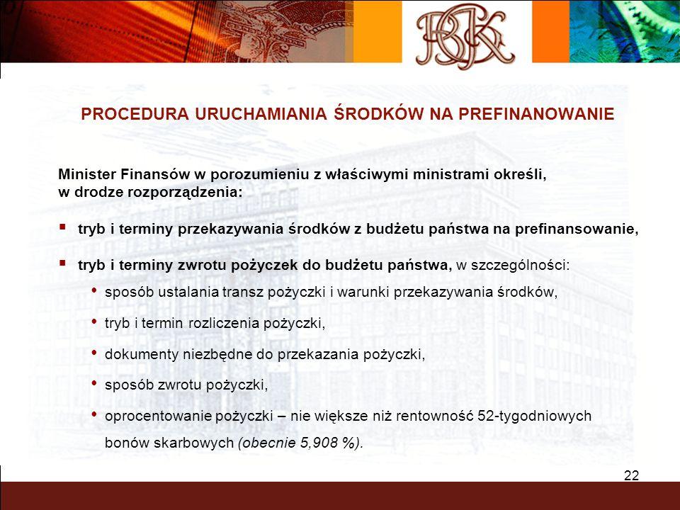 22 PROCEDURA URUCHAMIANIA ŚRODKÓW NA PREFINANOWANIE Minister Finansów w porozumieniu z właściwymi ministrami określi, w drodze rozporządzenia: tryb i