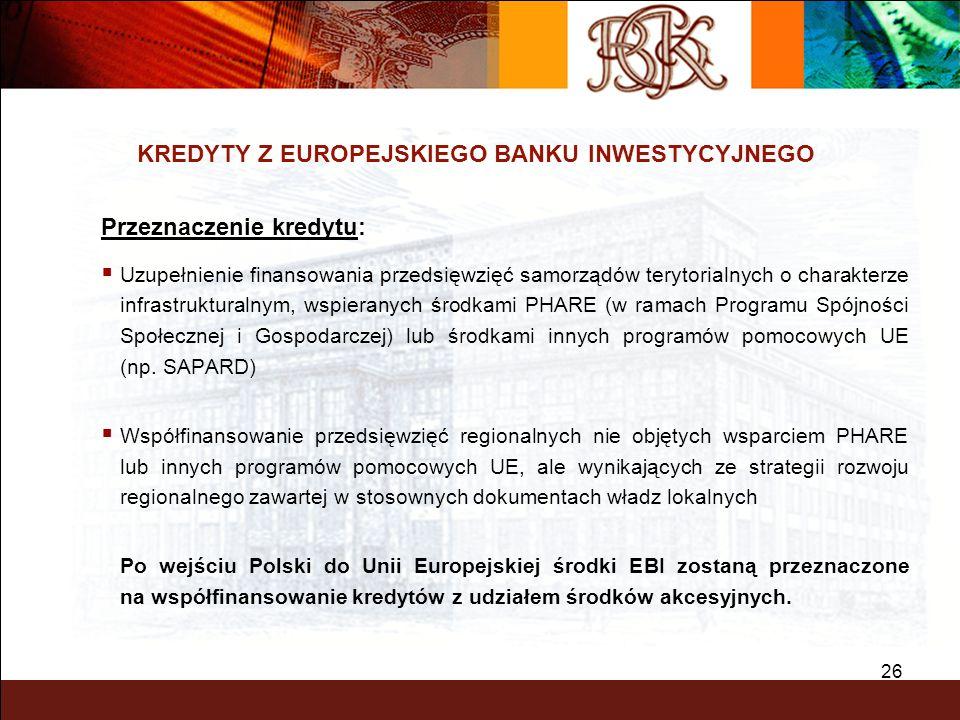 26 KREDYTY Z EUROPEJSKIEGO BANKU INWESTYCYJNEGO Przeznaczenie kredytu: Uzupełnienie finansowania przedsięwzięć samorządów terytorialnych o charakterze