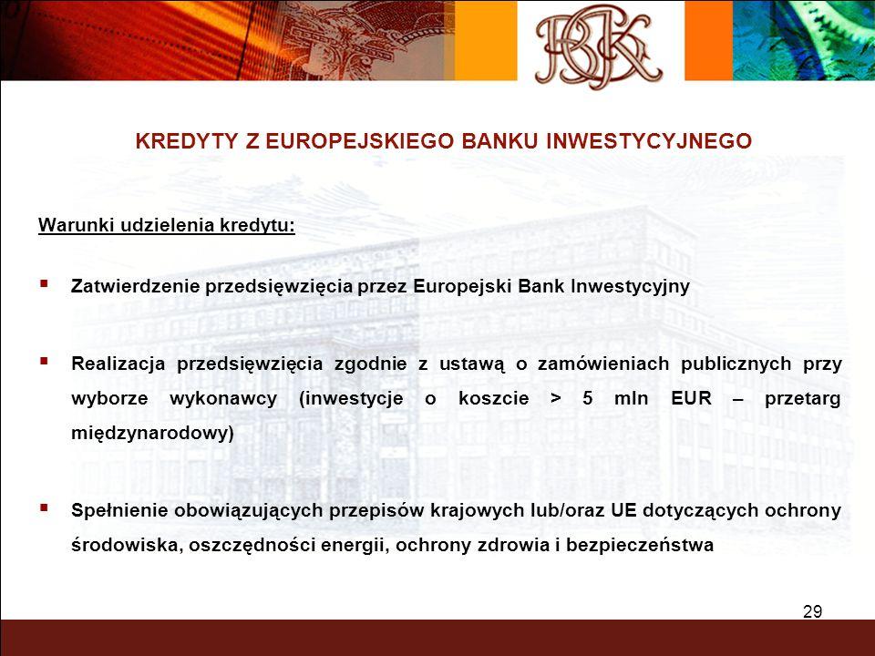 29 KREDYTY Z EUROPEJSKIEGO BANKU INWESTYCYJNEGO Warunki udzielenia kredytu: Zatwierdzenie przedsięwzięcia przez Europejski Bank Inwestycyjny Realizacj