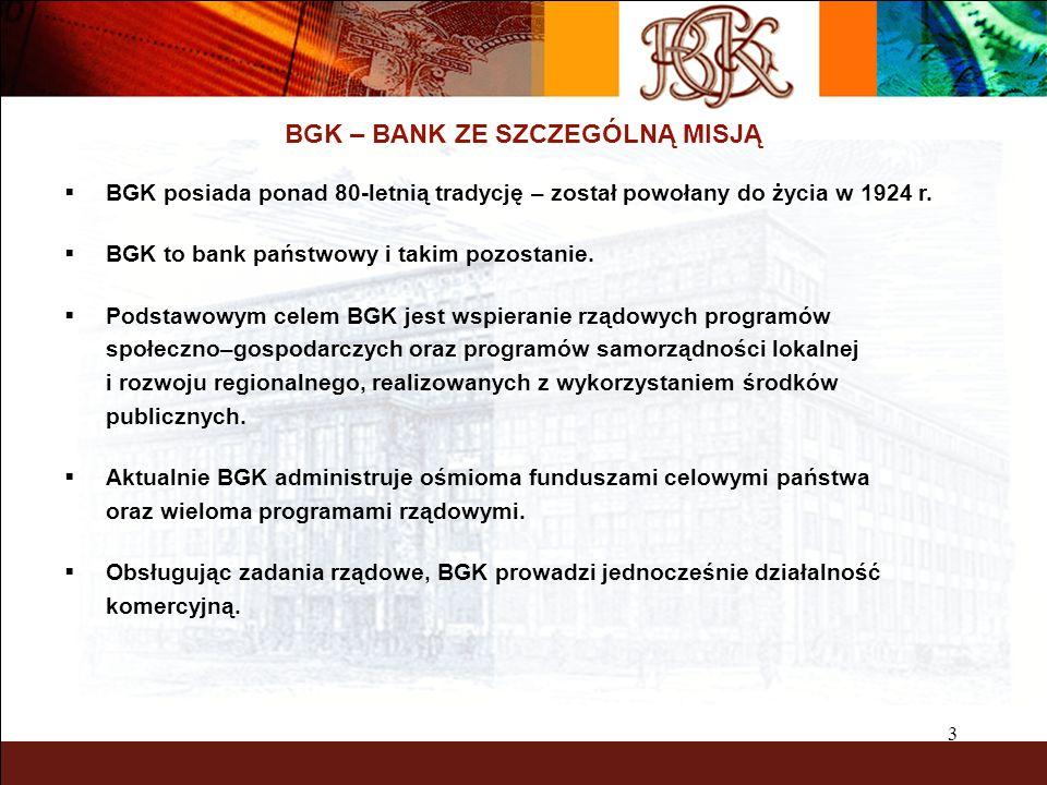 4 BGK – BANK ZE SZCZEGÓLNĄ MISJĄ Główne zadania BGK: Realizacja celów polityki społeczno-gospodarczej państwa poprzez wsparcie sektorów i obszarów uznanych za ważne dla rozwoju i stabilizacji społeczno- gospodarczej (fundusze celowe i programy rządowe) Funkcja agenta bankowego państwa i rządu - obsługa bankowo-finansowa w określonych obszarach (budżet centralny i samorządów terytorialnych, obsługa długu zagranicznego) BGK jako bank komercyjny oferuje produkty i usługi w sieci oddziałów na terenie całego kraju (rachunki, kredyty, obligacje komunalne, itd.)