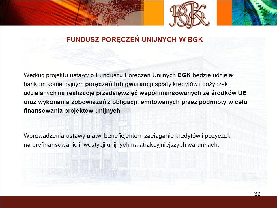 32 FUNDUSZ PORĘCZEŃ UNIJNYCH W BGK Według projektu ustawy o Funduszu Poręczeń Unijnych BGK będzie udzielał bankom komercyjnym poręczeń lub gwarancji s