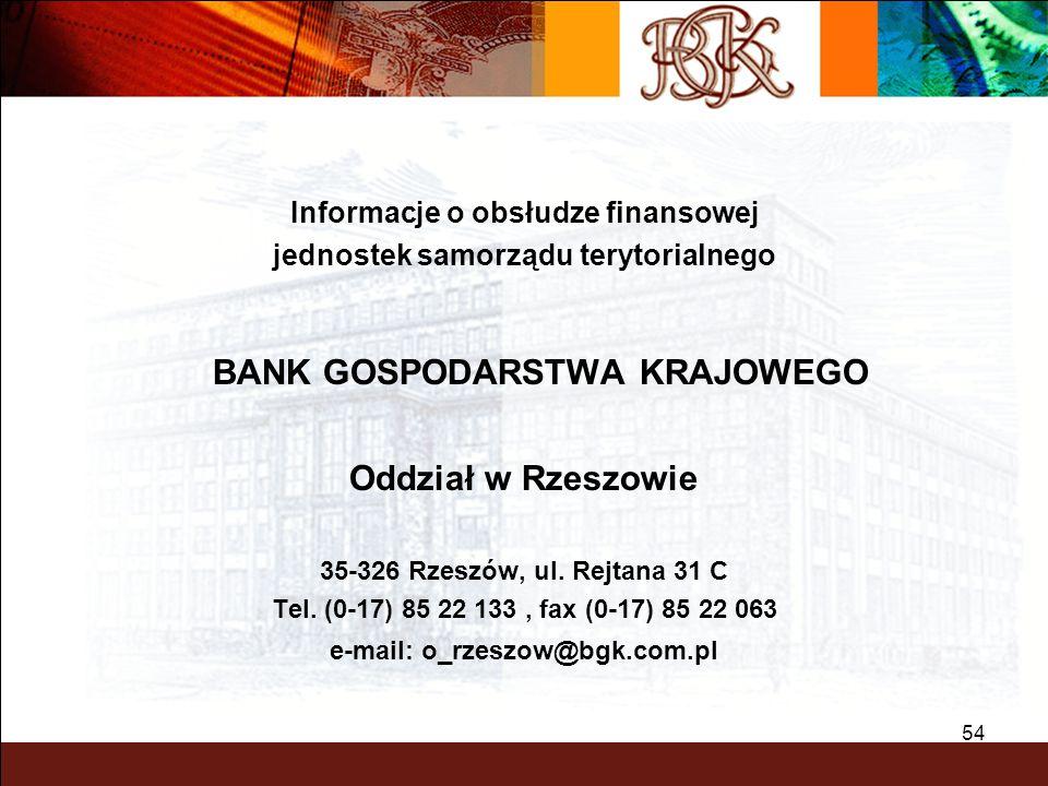 54 Informacje o obsłudze finansowej jednostek samorządu terytorialnego BANK GOSPODARSTWA KRAJOWEGO Oddział w Rzeszowie 35-326 Rzeszów, ul. Rejtana 31