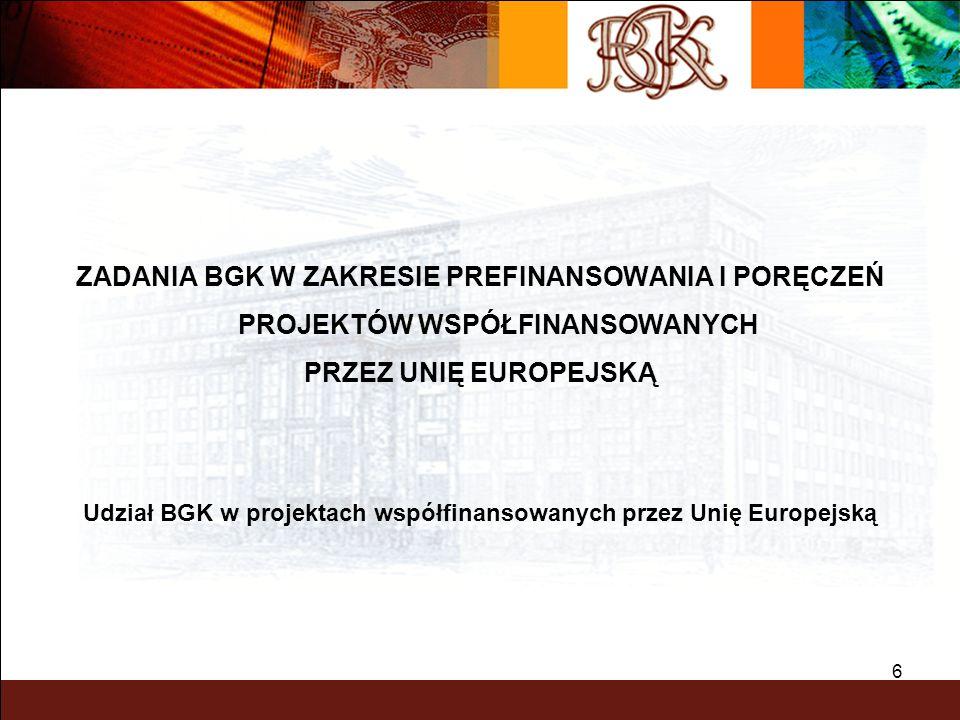 7 BGK - UDZIAŁ W PROJEKTACH WSPÓŁFINANSOWANYCH PRZEZ UE Podstawowa rola sektora bankowego w finansowaniu projektów inwestycyjnych z udziałem funduszy unijnych to wspieranie polskich beneficjentów pomocy w procesie absorbcji środków Unii Europejskiej