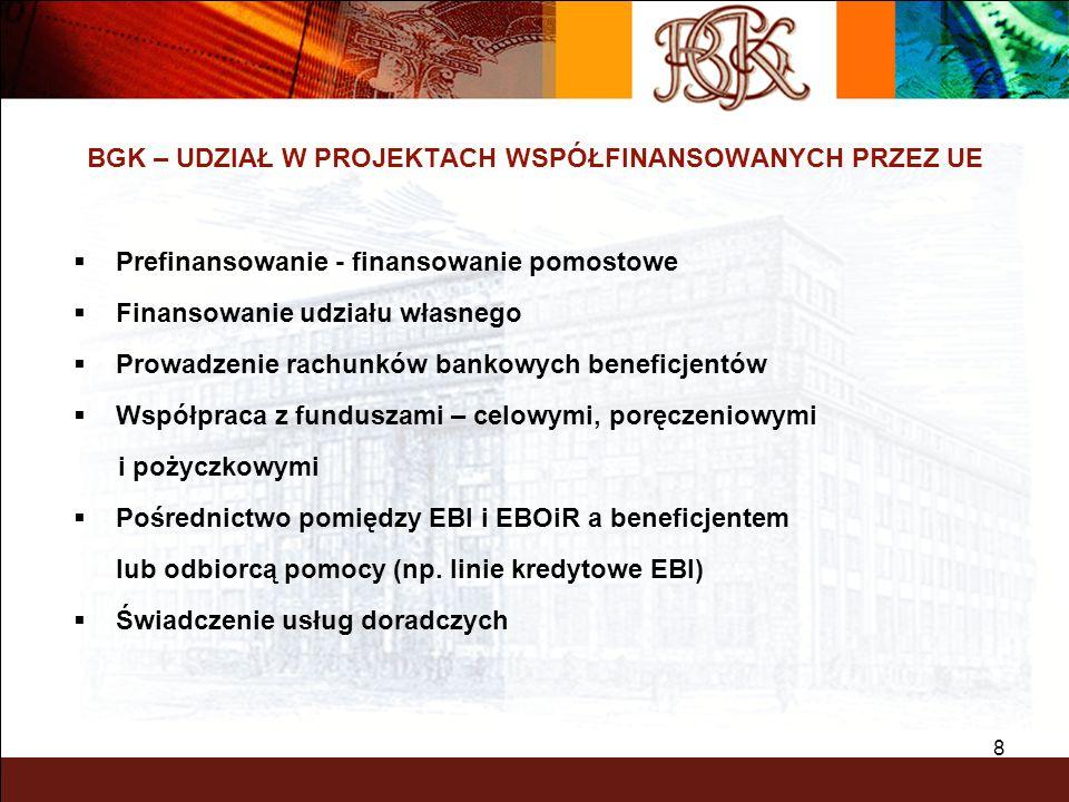 8 BGK – UDZIAŁ W PROJEKTACH WSPÓŁFINANSOWANYCH PRZEZ UE Prefinansowanie - finansowanie pomostowe Finansowanie udziału własnego Prowadzenie rachunków b