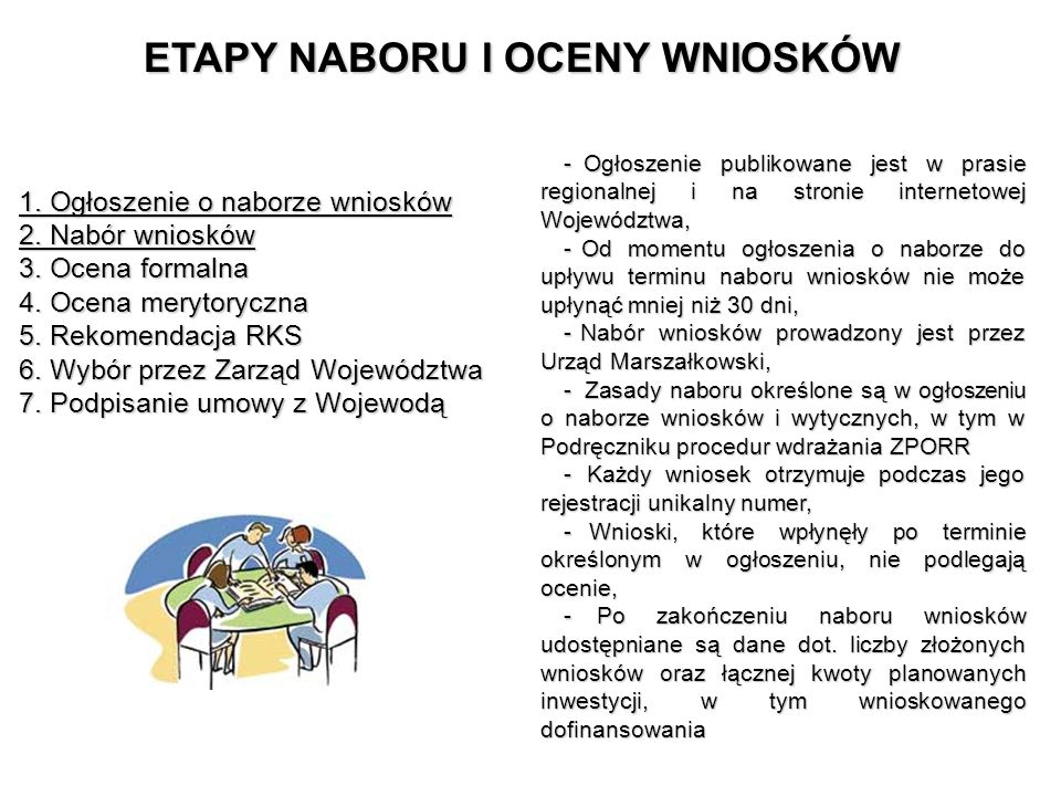 ETAPY NABORU I OCENY WNIOSKÓW 1. Ogłoszenie o naborze wniosków 2. Nabór wniosków 3. Ocena formalna 4. Ocena merytoryczna 5. Rekomendacja RKS 6. Wybór