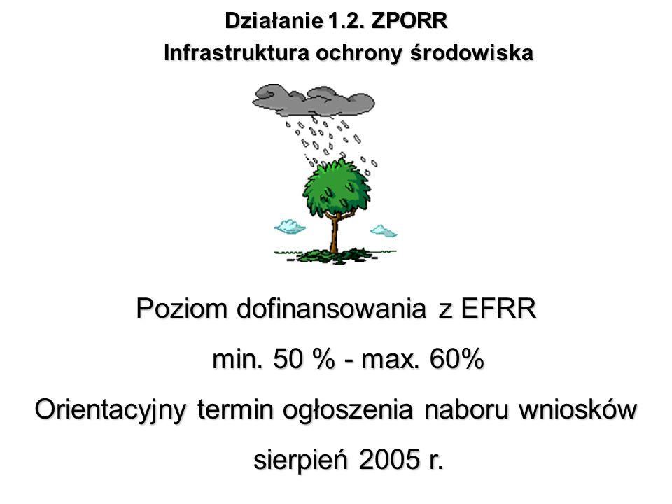 Działanie 1.2. ZPORR Infrastruktura ochrony środowiska Poziom dofinansowania z EFRR min. 50 % - max. 60% Orientacyjny termin ogłoszenia naboru wnioskó