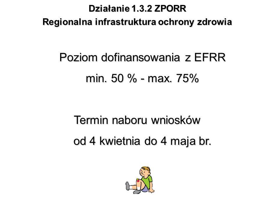 Działanie 1.3.2 ZPORR Regionalna infrastruktura ochrony zdrowia Poziom dofinansowania z EFRR min. 50 % - max. 75% Termin naboru wniosków od 4 kwietnia