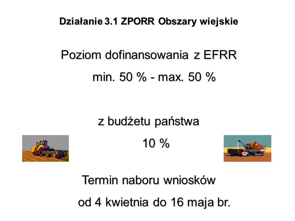Działanie 3.1 ZPORR Obszary wiejskie Poziom dofinansowania z EFRR min. 50 % - max. 50 % z budżetu państwa 10 % Termin naboru wniosków od 4 kwietnia do