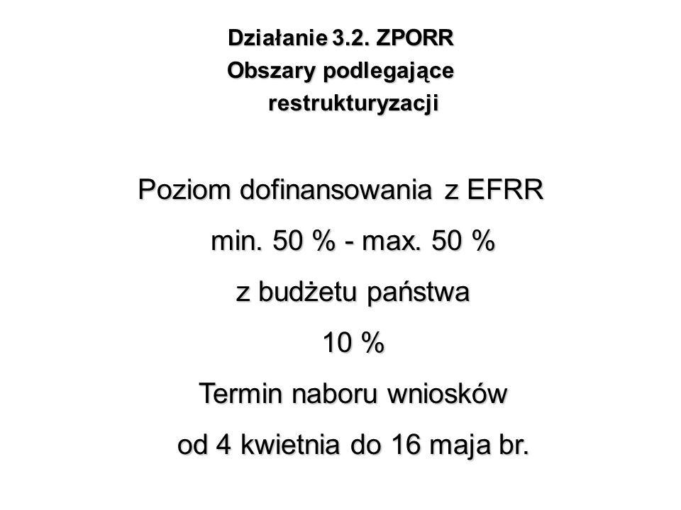 Działanie 3.2. ZPORR Obszary podlegające restrukturyzacji Poziom dofinansowania z EFRR min. 50 % - max. 50 % z budżetu państwa 10 % Termin naboru wnio