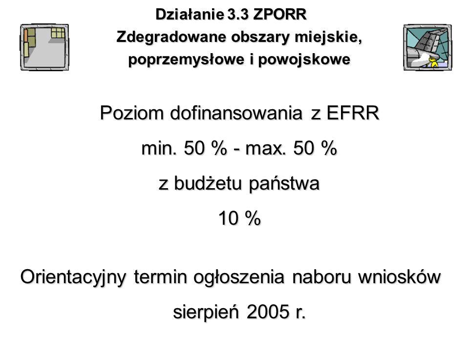Działanie 3.3 ZPORR Zdegradowane obszary miejskie, poprzemysłowe i powojskowe Poziom dofinansowania z EFRR min. 50 % - max. 50 % z budżetu państwa 10