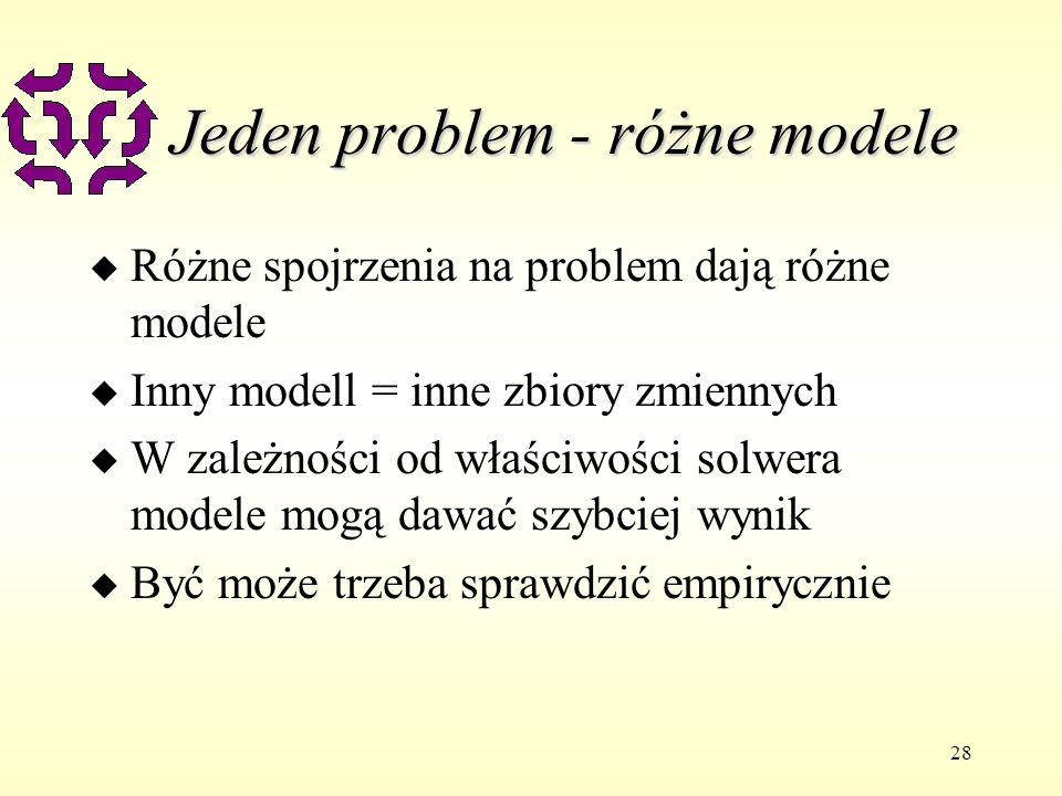 28 Jeden problem - różne modele u Różne spojrzenia na problem dają różne modele u Inny modell = inne zbiory zmiennych u W zależności od właściwości solwera modele mogą dawać szybciej wynik u Być może trzeba sprawdzić empirycznie