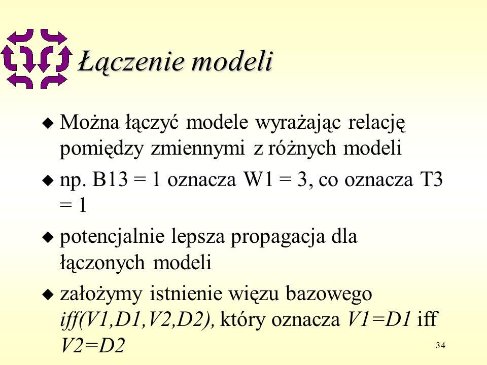 34 Łączenie modeli u Można łączyć modele wyrażając relację pomiędzy zmiennymi z różnych modeli u np. B13 = 1 oznacza W1 = 3, co oznacza T3 = 1 u poten