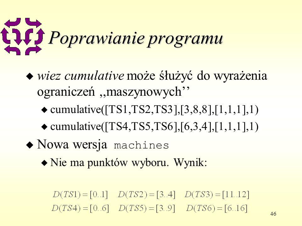 46 Poprawianie programu u wiez cumulative może śłużyć do wyrażenia ograniczeń,,maszynowych u cumulative([TS1,TS2,TS3],[3,8,8],[1,1,1],1) u cumulative([TS4,TS5,TS6],[6,3,4],[1,1,1],1) Nowa wersja machines u Nie ma punktów wyboru.