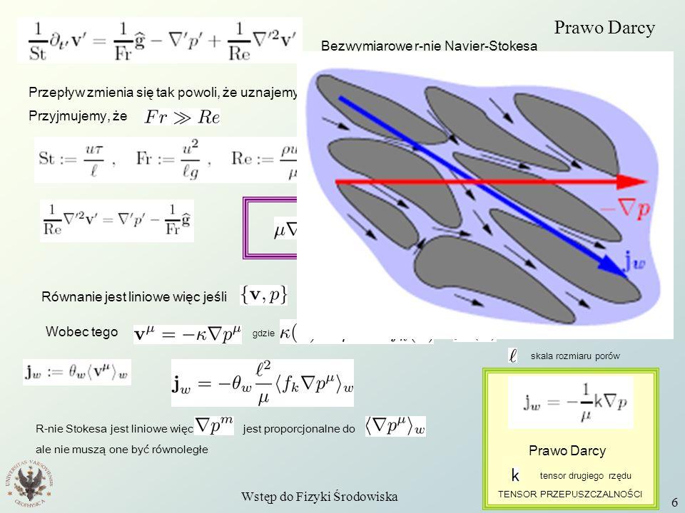 Wstęp do Fizyki Środowiska W11 6 Prawo Darcy Bezwymiarowe r-nie Navier-Stokesa Przepływ zmienia się tak powoli, że uznajemy go za stacjonarny. Przyjmu