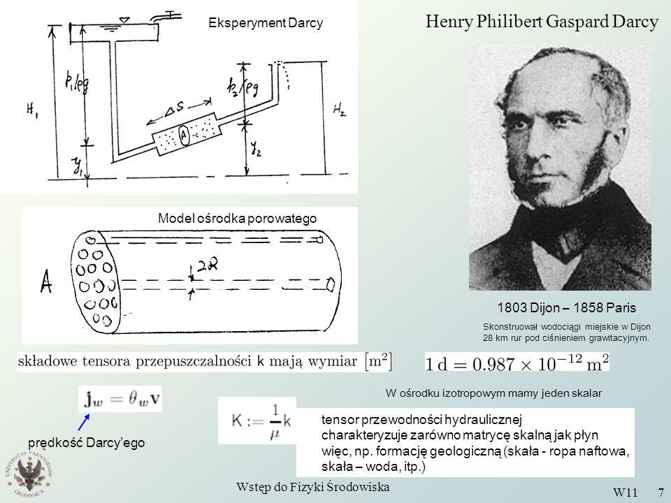 Wstęp do Fizyki Środowiska W11 7 1803 Dijon – 1858 Paris Skonstruował wodociągi miejskie w Dijon 28 km rur pod ciśnieniem grawitacyjnym. Eksperyment D