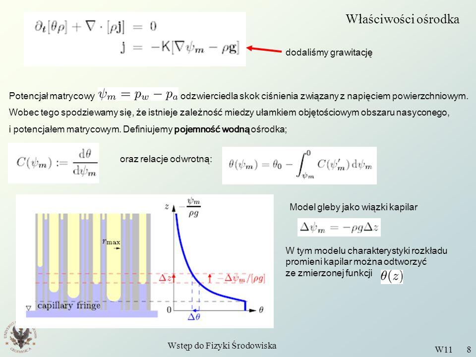 Wstęp do Fizyki Środowiska W11 8 Właściwości ośrodka dodaliśmy grawitację Potencjał matrycowy odzwierciedla skok ciśnienia związany z napięciem powier