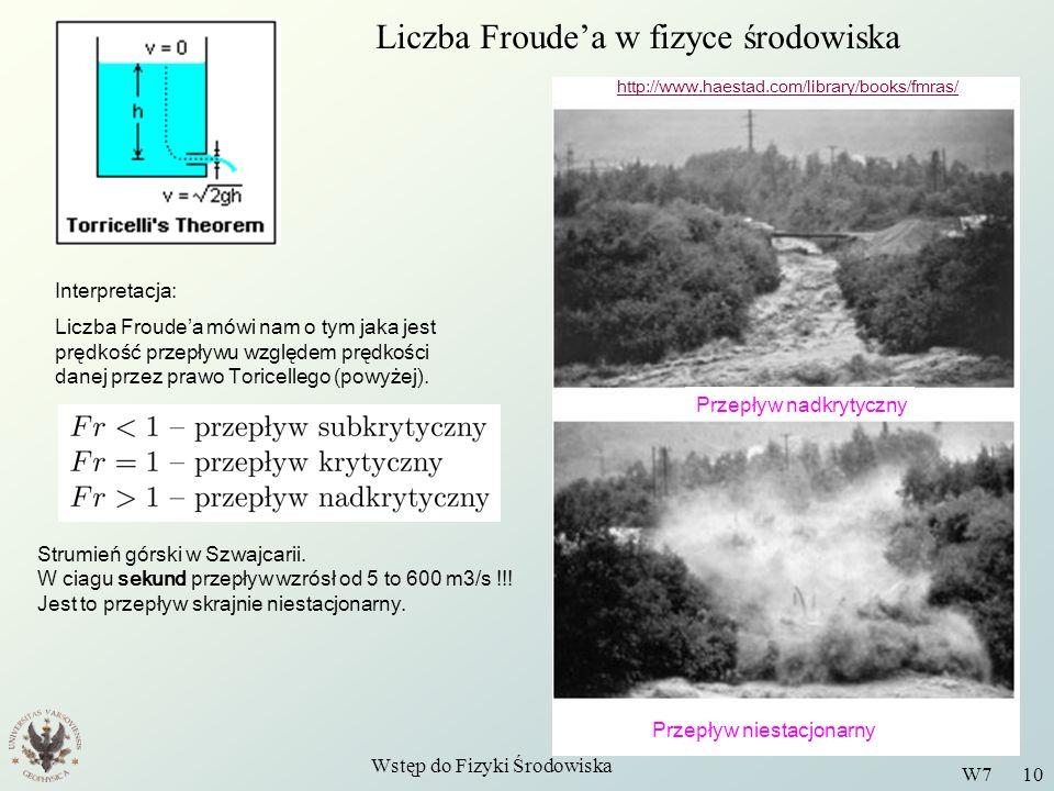 Wstęp do Fizyki Środowiska W7 10 Liczba Froudea w fizyce środowiska Interpretacja: Liczba Froudea mówi nam o tym jaka jest prędkość przepływu względem
