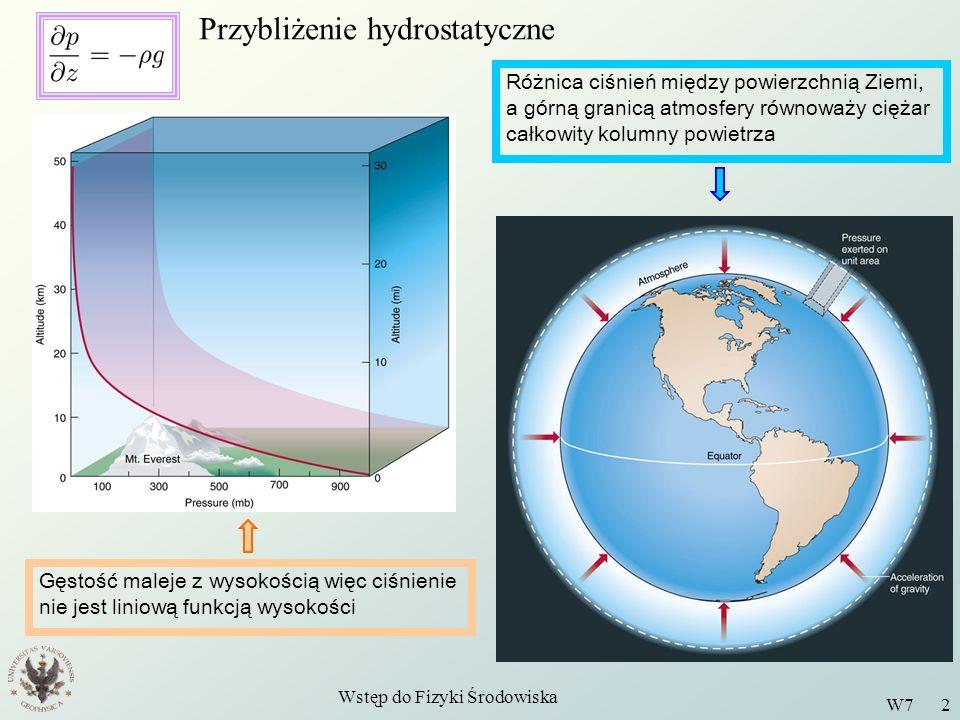 Wstęp do Fizyki Środowiska W7 2 Przybliżenie hydrostatyczne Gęstość maleje z wysokością więc ciśnienie nie jest liniową funkcją wysokości Różnica ciśn