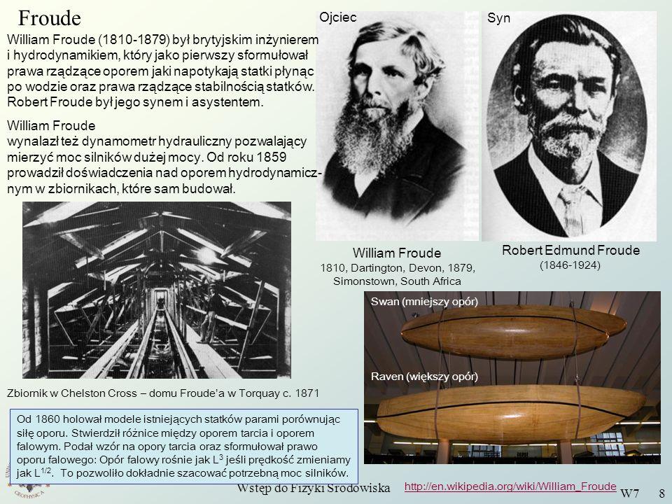 Wstęp do Fizyki Środowiska W7 8 Froude William Froude 1810, Dartington, Devon, 1879, Simonstown, South Africa Robert Edmund Froude (1846-1924) Ojciec