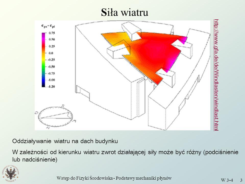 Wstęp do Fizyki Środowiska - Podstawy mechaniki płynów W 3-4 3 Siła wiatru http://www.gfa.de/de/Windlasten/windlast.html Oddziaływanie wiatru na dach