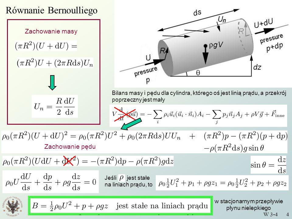 Wstęp do Fizyki Środowiska - Podstawy mechaniki płynów W 3-4 4 Równanie Bernoulliego Bilans masy i pędu dla cylindra, którego oś jest linią prądu, a p