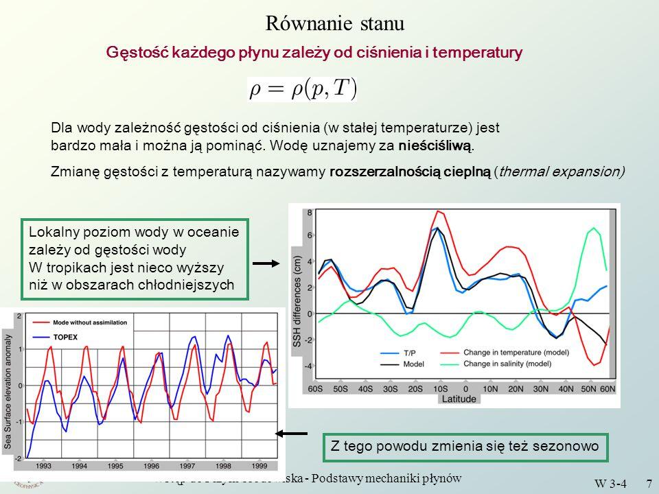 Wstęp do Fizyki Środowiska - Podstawy mechaniki płynów W 3-4 7 Równanie stanu Gęstość każdego płynu zależy od ciśnienia i temperatury Dla wody zależno