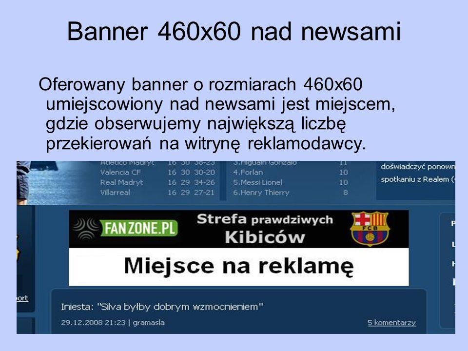 Banner 460x60 nad newsami Oferowany banner o rozmiarach 460x60 umiejscowiony nad newsami jest miejscem, gdzie obserwujemy największą liczbę przekierow