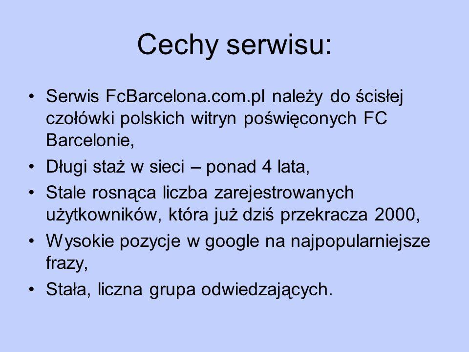 Cechy serwisu: Serwis FcBarcelona.com.pl należy do ścisłej czołówki polskich witryn poświęconych FC Barcelonie, Długi staż w sieci – ponad 4 lata, Sta