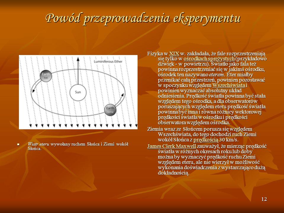 12 Powód przeprowadzenia eksperymentu Wiatr eteru wywołany ruchem Słońca i Ziemi wokół Słońca. Wiatr eteru wywołany ruchem Słońca i Ziemi wokół Słońca
