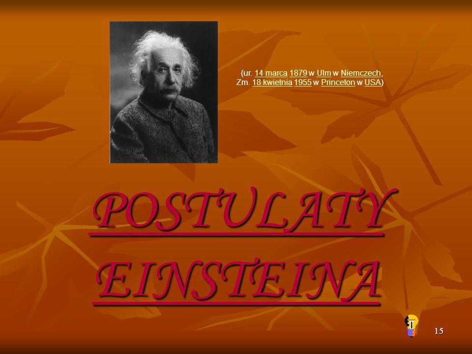 15 (ur. 14 marca 1879 w Ulm w Niemczech, Zm. 18 kwietnia 1955 w Princeton w USA)14 marca1879UlmNiemczech18 kwietnia1955PrincetonUSA POSTULATY EINSTEIN