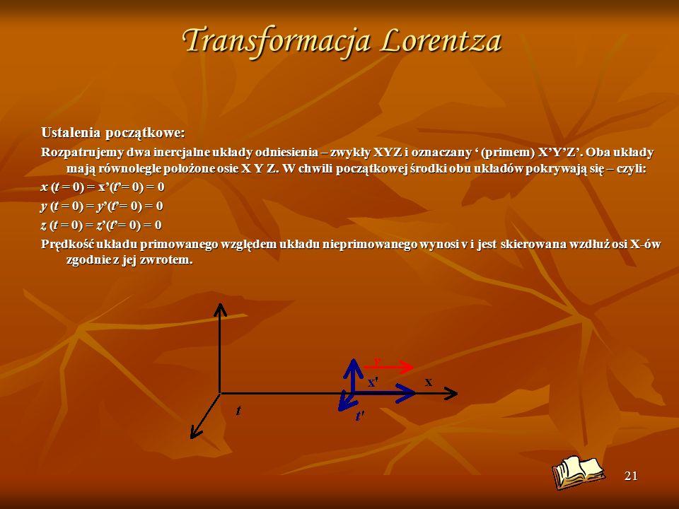 21 Transformacja Lorentza Ustalenia początkowe: Rozpatrujemy dwa inercjalne układy odniesienia – zwykły XYZ i oznaczany (primem) XYZ. Oba układy mają