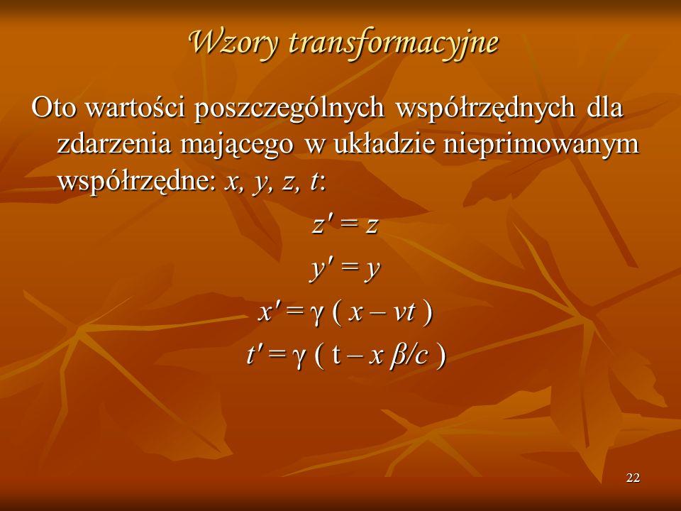 22 Wzory transformacyjne Oto wartości poszczególnych współrzędnych dla zdarzenia mającego w układzie nieprimowanym współrzędne: x, y, z, t: z' = z y'