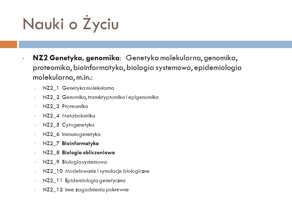 Nauki o Życiu NZ2 Genetyka, genomika: Genetyka molekularna, genomika, proteomika, bioinformatyka, biologia systemowa, epidemiologia molekularna, m.in.