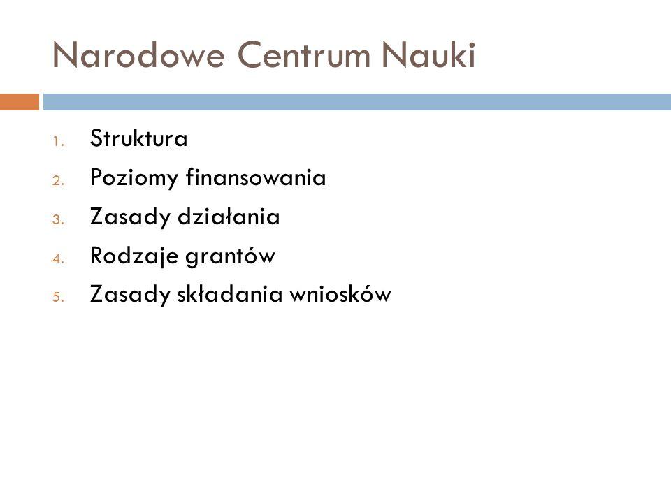 Narodowe Centrum Nauki 1. Struktura 2. Poziomy finansowania 3. Zasady działania 4. Rodzaje grantów 5. Zasady składania wniosków