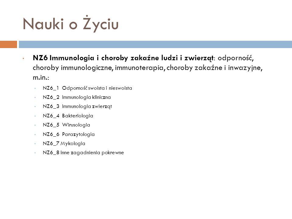 Nauki o Życiu NZ6 Immunologia i choroby zakaźne ludzi i zwierząt: odporność, choroby immunologiczne, immunoterapia, choroby zakaźne i inwazyjne, m.in.