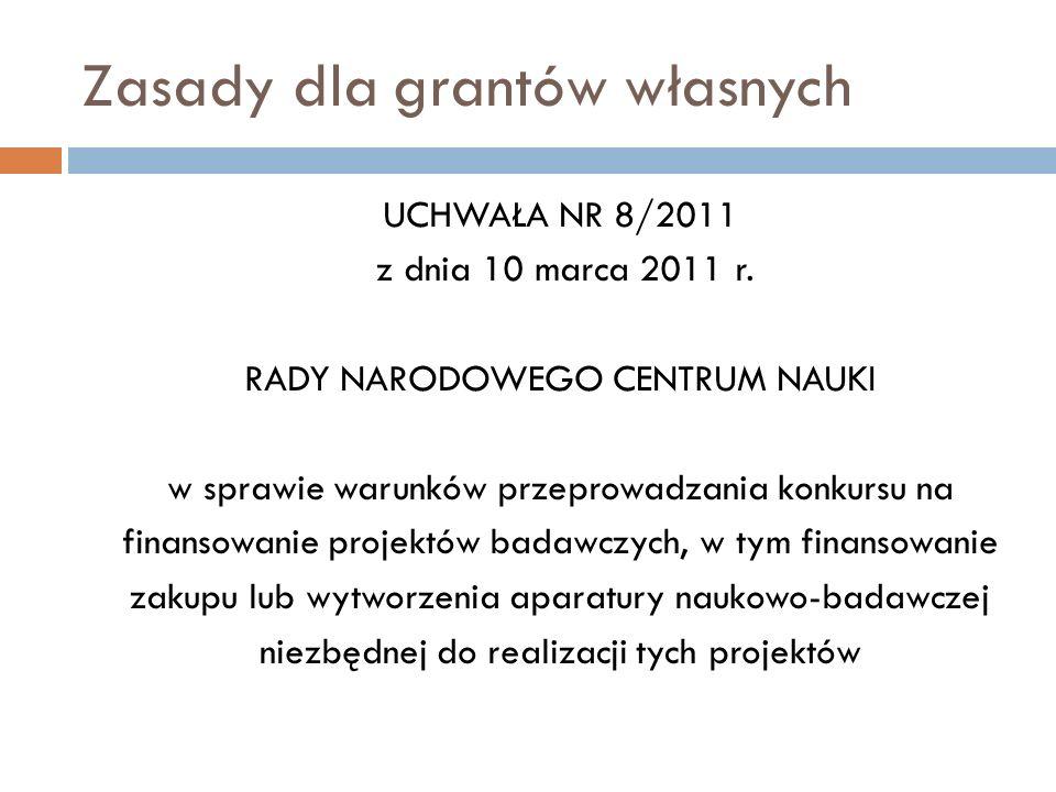 Zasady dla grantów własnych UCHWAŁA NR 8/2011 z dnia 10 marca 2011 r. RADY NARODOWEGO CENTRUM NAUKI w sprawie warunków przeprowadzania konkursu na fin