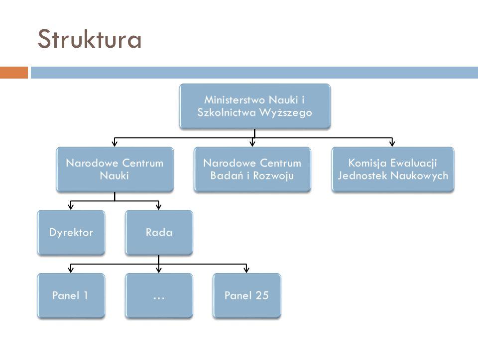 Struktura Ministerstwo Nauki i Szkolnictwa Wyższego Narodowe Centrum Nauki DyrektorRadaPanel 1…Panel 25 Narodowe Centrum Badań i Rozwoju Komisja Ewalu