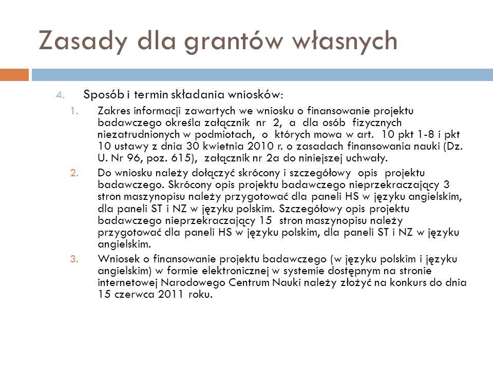 Zasady dla grantów własnych 4. Sposób i termin składania wniosków: 1. Zakres informacji zawartych we wniosku o finansowanie projektu badawczego określ