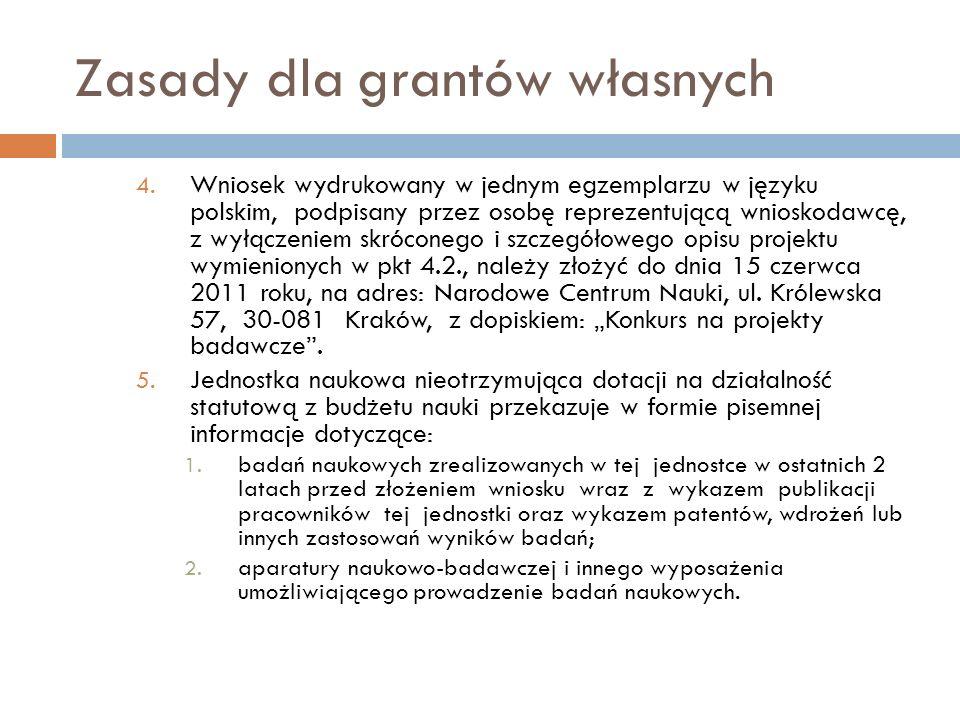 Zasady dla grantów własnych 4. Wniosek wydrukowany w jednym egzemplarzu w języku polskim, podpisany przez osobę reprezentującą wnioskodawcę, z wyłącze