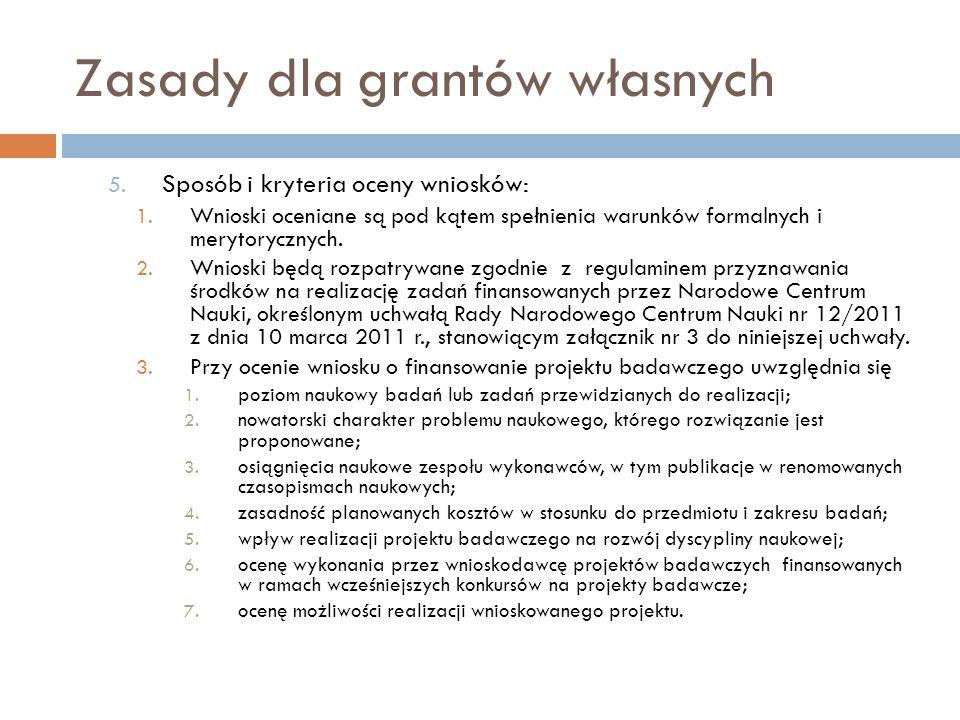 Zasady dla grantów własnych 5. Sposób i kryteria oceny wniosków: 1. Wnioski oceniane są pod kątem spełnienia warunków formalnych i merytorycznych. 2.