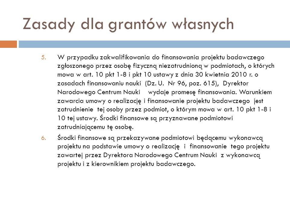 Zasady dla grantów własnych 5. W przypadku zakwalifikowania do finansowania projektu badawczego zgłoszonego przez osobę fizyczną niezatrudnioną w podm