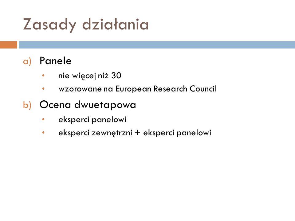 Zasady działania a) Panele nie więcej niż 30 wzorowane na European Research Council b) Ocena dwuetapowa eksperci panelowi eksperci zewnętrzni + eksper