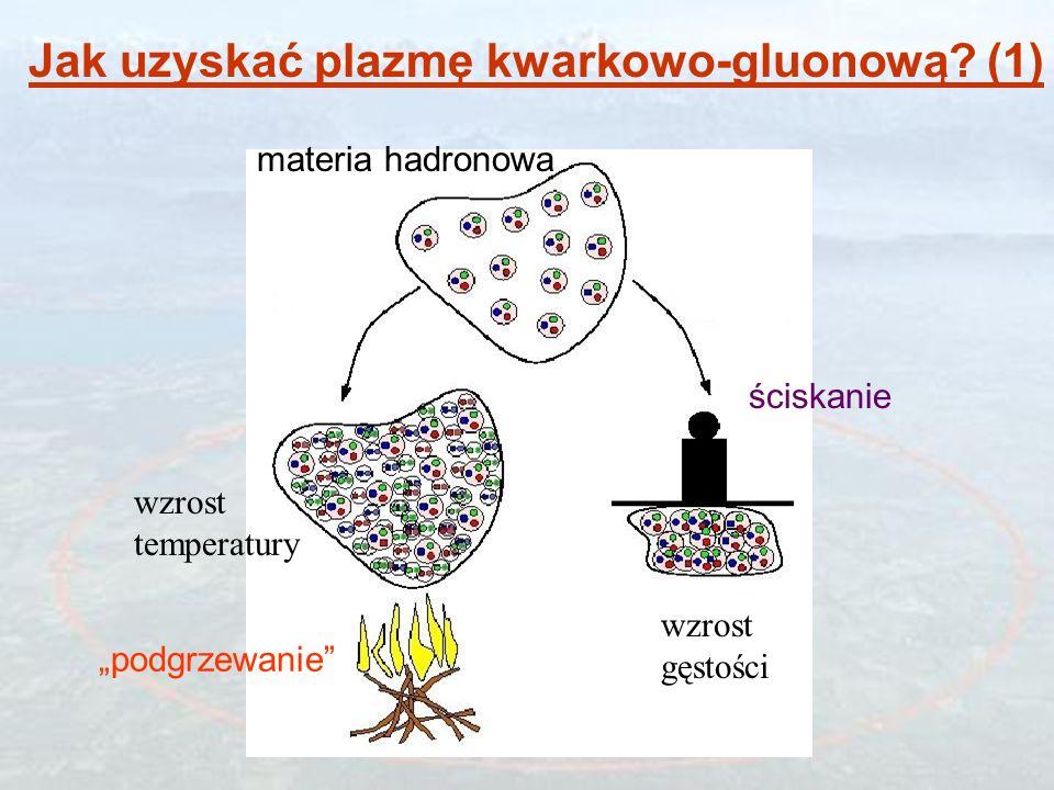 Nukleon (hadron) Materia hadronowa Materia (plazma) Kwarkowo-gluonowa confinement de-confinement Uwięzienie kwarków w hadronach